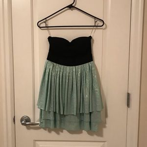 Wet Seal Strapless Black and Teal Short Dress